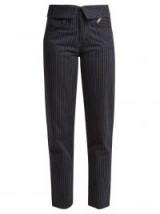 JEAN ATELIER Flip fold-over pinstripe jeans ~ navy striped denim