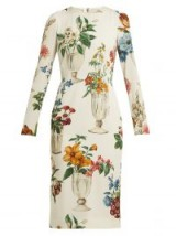 DOLCE & GABBANA White Floral and vase-print silk-blend crêpe dress