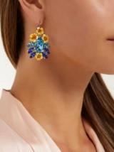 DOLCE & GABBANA Yellow Floral and blue crystal earrings ~ beautiful Italian jewellery