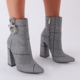 PUBLIC DESIRE FOREVER METAL TRIM ANKLE BOOTS IN GREY CHECK ~ retro footwear