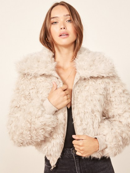 Reformation Freddie Coat in Sand | perfect shaggy bomber