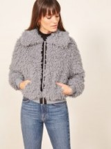 REFORMATION Freddie Coat in Fog / shaggy faux fur jacket