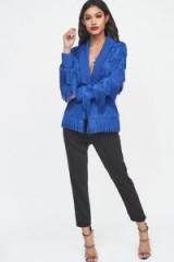Lavish Alice fringe blazer in cobalt blue – glamorous party jacket
