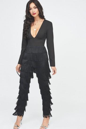 Lavisg Alice fringe jumpsuit in black | plunge front partywear