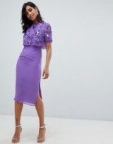 Frock And Frill embellished top midi pencil dress in purple – sequinned flowers