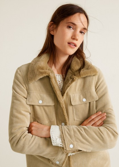 MANGO Fur corduroy jacket in beige ~ neutral Autumn outerwear