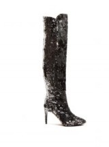 AQUAZZURA Gainsbourg 85 silver sequin knee high leather boots