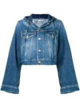GANNI hooded denim jacket in 698 MEDIUM DARK DENIM | cropped | wide sleeves
