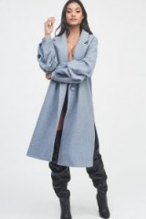 Lavish Alice gathered sleeve wool coat in true grey | balloon sleeved winter coats