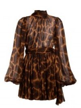 DOLCE & GABBANA Brown Giraffe-print tie-neck dress ~ glamorous Italian clothing