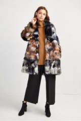 FRENCH CONNECTION GOLDA FAUX FUR COAT in Utility Blue/Brown – luxe style patchwork winter coats