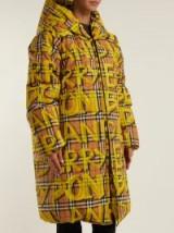 BURBERRY Yellow Graffiti-print oversized puffer coat ~ slogan printed outerwear