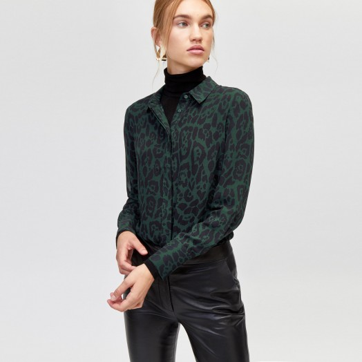 Warehouse GREEN LEOPARD CHIFFON SHIRT ~ glamorous animal prints