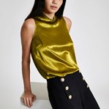 RIVER ISLAND Green satin high neck top – slinky sleeveless blouse