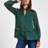 RIVER ISLAND Green stud lace trim blouse – romantic tie neck top