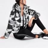 RIVER ISLAND Grey camo layer hooded puffer jacket – camouflage print puffa