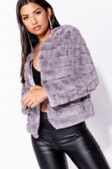 PARISIAN GREY FAUX FUR EDGE TO EDGE COLLARLESS JACKET | fluffy luxe style jackets