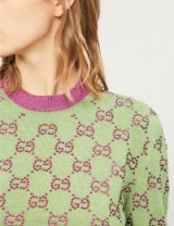 GUCCI GG crystal-embellished green wool jumper ~ little details ~ luxe knitwear
