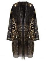 BIYAN Hagar embroidered black tulle coat ~ metallic thread embroidery