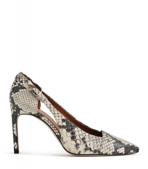 HALLEY SNAKE BUCKLE DETAIL POINTED HEELS SNAKE ~ animal print cut-out courts