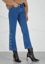 HALSTON HERITAGE Snap Dylan cropped kick-flare blue denim jeans