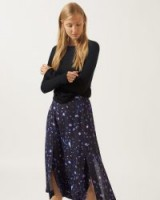 JIGSAW HARVEST FIELDS SPLIT MIDI SKIRT Navy