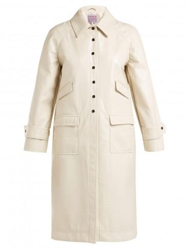 ALEXACHUNG Heart-appliquéd cream PVC chesterfield coat
