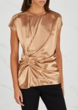 HELMUT LANG Gold ruched satin top ~ luxe clothing