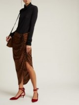DIANE VON FURSTENBERG Heyford brown and black leopard print silk skirt.