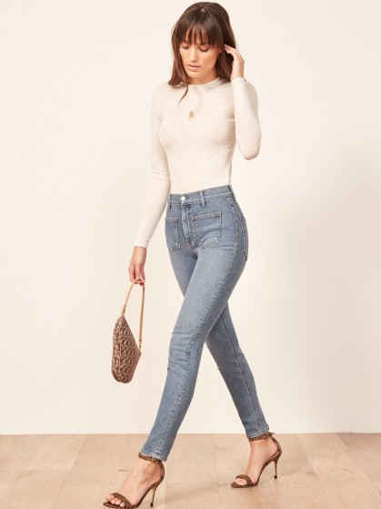 Reformation High & Skinny With Patch Pockets in Catalina | front pocket denim skinnies