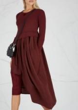 HIGH Whirlwind asymmetric burgundy jersey dress