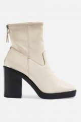 Topshop HIGHLAND Leather Ankle Boots in White | chunky retro boot