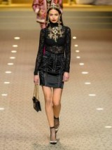 DOLCE & GABBANA High-neck black floral-lace top ~ semi sheer