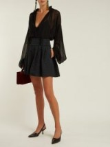 DOLCE & GABBANA High-rise black floral-jacquard shorts