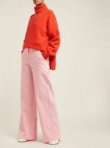 TIBI High-rise wide-leg jeans ~ pink denim