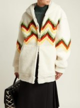 BURBERRY Hooded zigzag white shearling jacket | snugly oversized chevron patterned hoodie