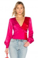 House of Harlow 1960 X REVOLVE BERNADETTE BLOUSE Fuchsia – silky hot pink plunge front top