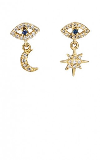 ILEANA MAKRI Mismatched Eye Stud 18k Yellow Gold Earrings / tiny diamond and sapphire drops