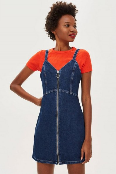 Topshop Indigo Denim Bodycon Dress | fitted strappy pinafore
