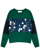 IN.NO Wren green and blue embellished wool-blend jumper / shiny large disc sequins