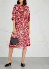 ISABEL MARANT ÉTOILE Juyane zebra-print chiffon dress / red and white animal stripes