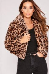 IN THE STYLE IVY LEOPARD FAUX FUR HOODED CROPPED JACKET – luxe style animal print jacket