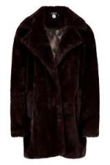 boohoo Jasmine Boutique Oversized Collar Faux Fur Coat Chocolate