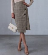 REISS JASMINE WRAP FRONT SKIRT NAVY/RUST ~ skirts with style