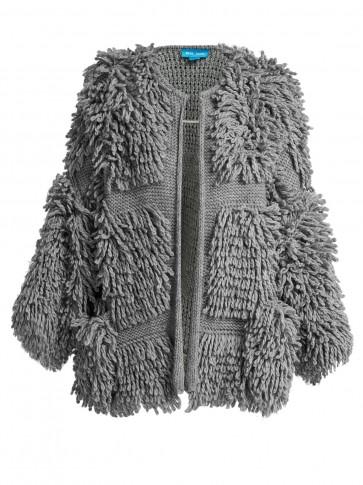 M.I.H JEANS Jesper grey loop-knit cardigan ~ oversized shaggy cardi