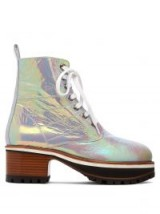 SIES MARJAN Jessa iridescent leather ankle boots – shiny chunky heeled boot