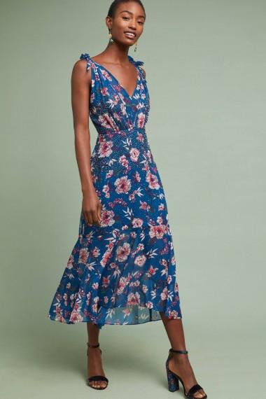 Ranna Gill Johanne Beaded Dress Blue Motif