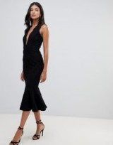 John Zack Tall allover lace midi dress with peplum hem in black | plunging neckline | LBD