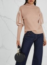 JONATHAN SIMKHAI Brown chunky-knit wool jumper   puff sleeves