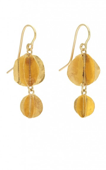 JUDY GEIB Whirligig Double-Drop Satin-Finished 24k Yellow Gold Earrings / luxe drops